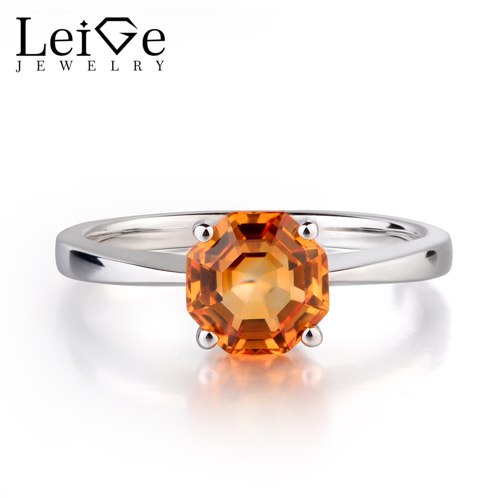Leige Jewelry Natural Citrine Engagement Solitaire Rings For Woman 925 Sterling Silver Octagon Cut Wedding Bands big promotion 100% original 925 silver wedding rings for women natural solitaire 6mm cz diamant engagement rings jewelry rj003