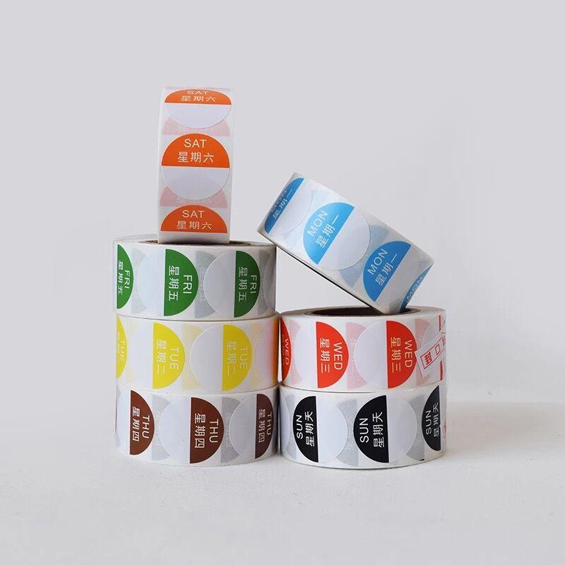 removiveis adesivos de alimentos redondo 25mm de diametro 500 pcs por o rolo segunda terca quarta