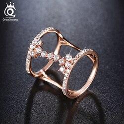 ORSA JOYAUX 2018 Mode Rose Or/Argent Couleur Unique Design Anneaux Pavée 43 Pièces AAA Zircon pour les Femmes Parti bijoux OR149