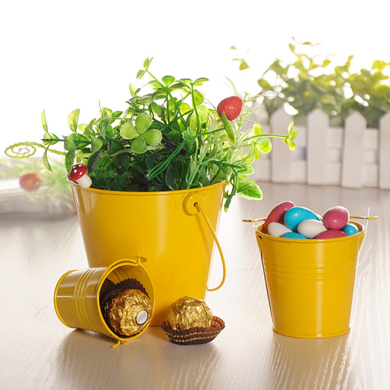 Image 3 - Mini Metal Buckets Colorful Tinplate Pails Candy Boxes Flower Pots Wedding Supply Home Decoration Storage Boxes-in Flower Pots & Planters from Home & Garden