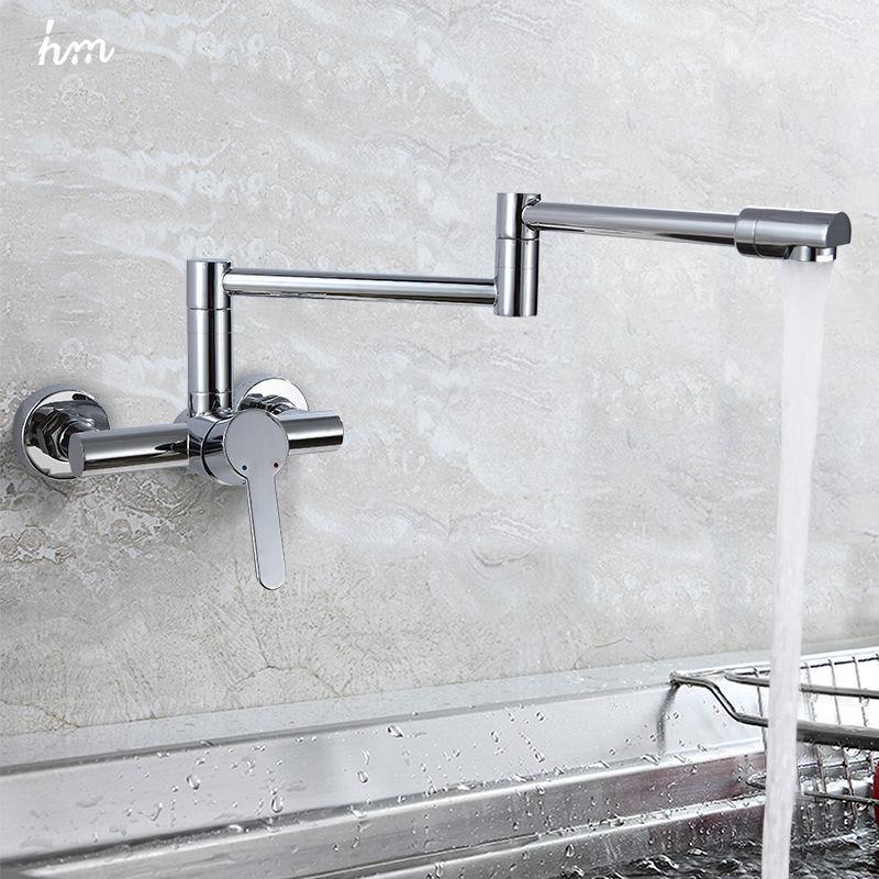 hm Finish Folding Kitchen Faucets Wall Mount Single Handle Chrome ...