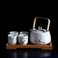 Keramik Marmor Tee set Nachmittag tee teekanne Tassen Anzug duftenden tee Holz tee tablett küche zubehör zimmer dekoration-in Teegeschirr-Sets aus Heim und Garten bei