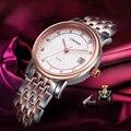 Comtex ol marca reloj de lujo mujer de moda reloj de oro rosa de zafiro calendario vestido reloj de cuarzo japonés reloj cristalino regalo
