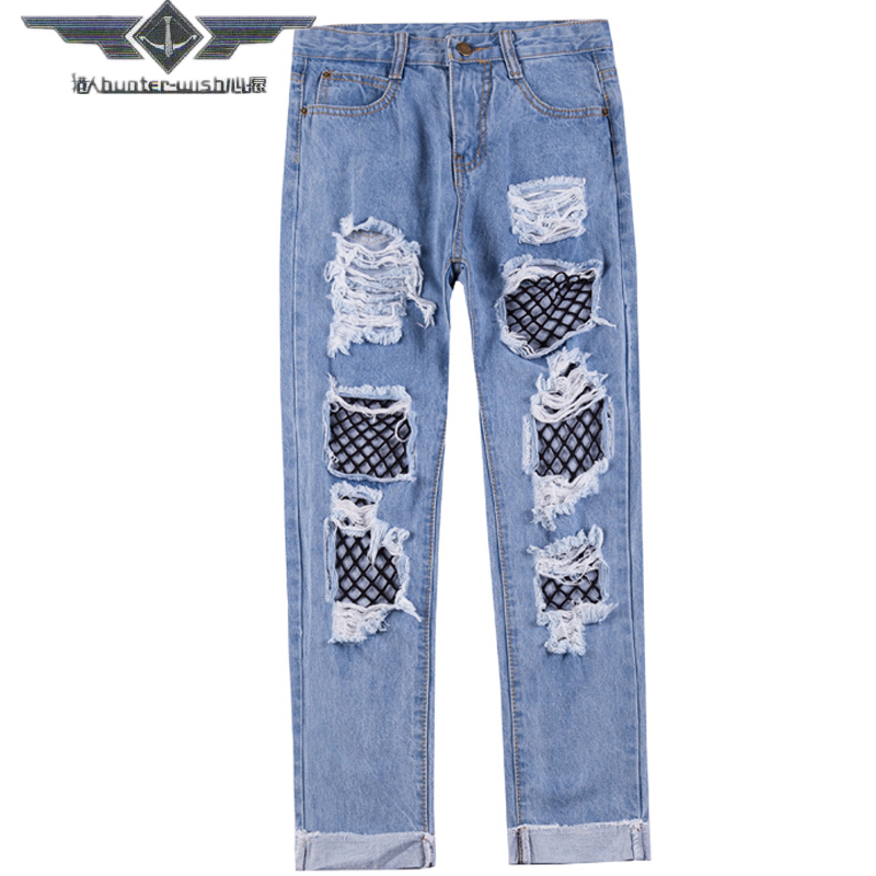 Hunter-wish Sexy Women Destroyed Ripped Distressed Slim Denim Pants Boyfriend Jeans Trousers high waist mesh pants Female women hole destroyed ripped distressed slim denim pants boyfriend jeans trousers