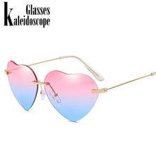 3e1307242299d2 Caleidoscoop Glazen Hart Zonnebril Vrouwen Liefde Lolita Randloze Frame  Helder Transparant Tint Zonnebril Vintage Frameloze UV40.