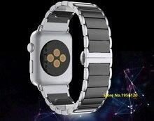 Top-grade de cerâmica com apple watch band borboleta fecho de bloqueio de aço inoxidável link pulseira laço cinta para iwatch 38mm 42mm