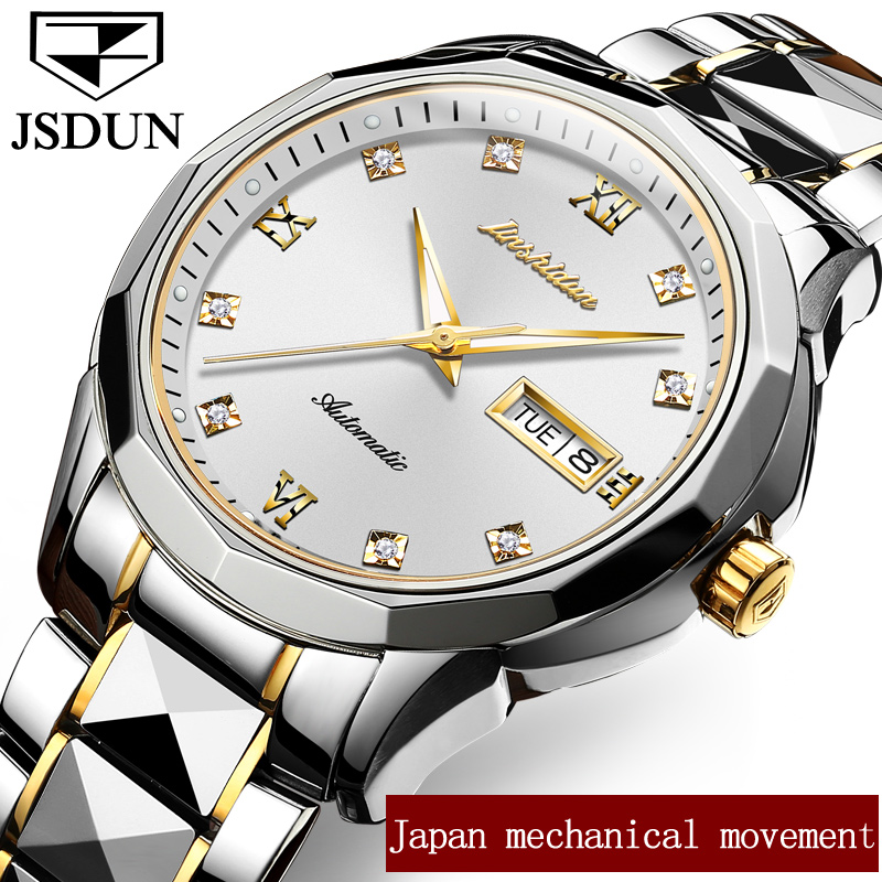 JSDUN Luxury Men Mechanical Watch Male Clock Week/Date Business Watches Top Brand Automatic Wristwatch relogio masculino G8813 2017 new one piece swimsuit women vintage bathing suits halter top plus size swimwear sexy monokini summer beach wear swimming