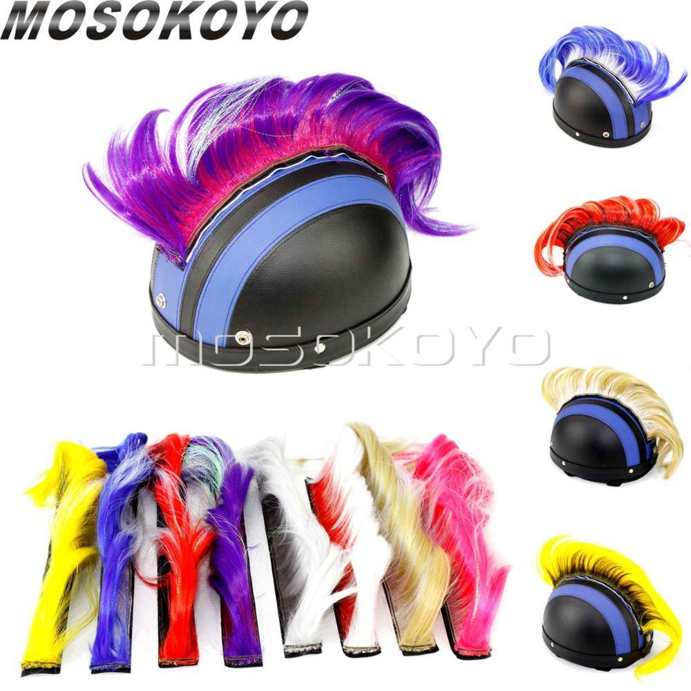 Мотоциклетный панк Байкерский шлем Mohawk Прикрепленный длинные волосы перо Casco Mohawks стикер открытый