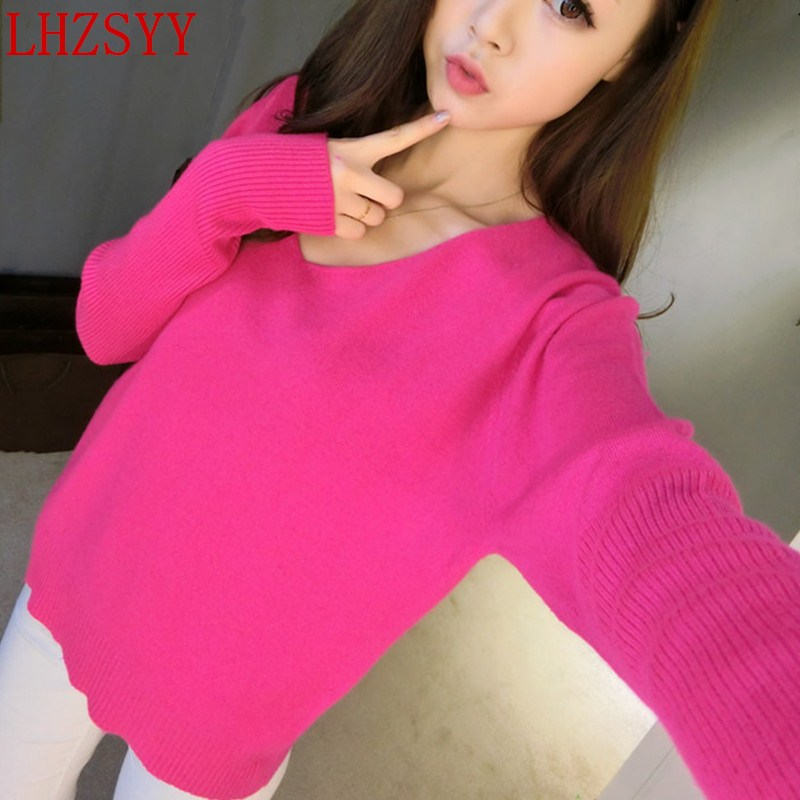 LHZSYY 2017 New spring and autumn Female Cashmere Sweater V Neck Loose big yards Bat sleeve