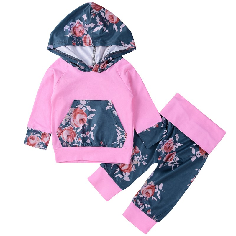Hot Sale Newborn Baby Girls Hooded T-shirt with Packet Top + Pants Flower Printed Outfits Set Kids Clothes