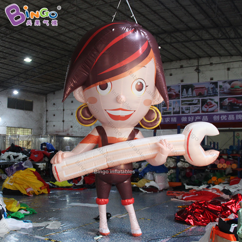 Personalized 3.5m tall big inflatable girl with wrench / 11.5 feet inflatable cartoon character toyPersonalized 3.5m tall big inflatable girl with wrench / 11.5 feet inflatable cartoon character toy