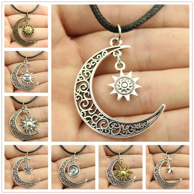 Completely new Hot Sale Sparkling Crescent Moon Sun Star Leather Chain Necklace  HL02