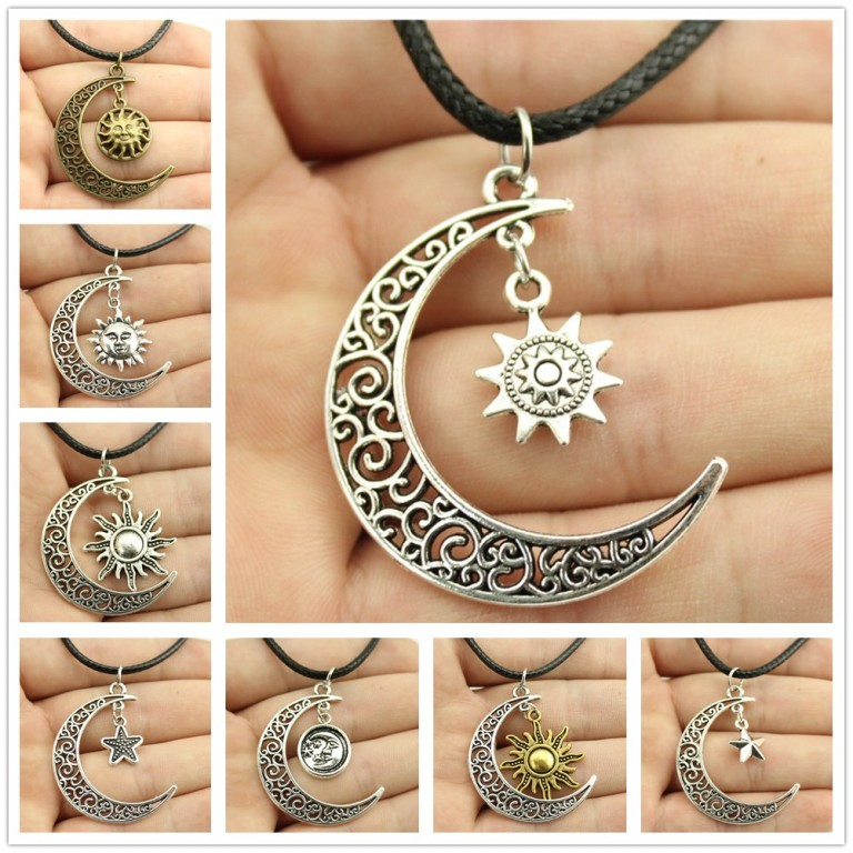 Hot Sale Sparkling Crescent Moon Sun Star Leather Chain Necklace Women Jewelry