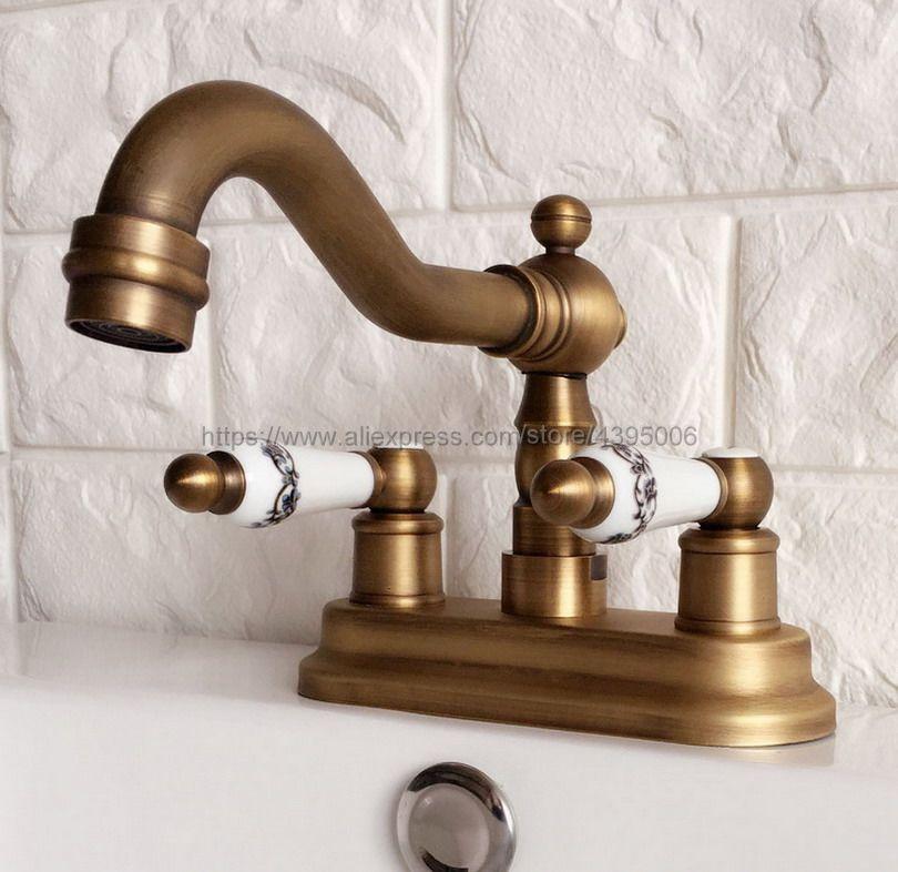 Antique Brass Bathroom Basin Sink Faucet Double Handle Basin Vessel Double Hole Sink Mixer Tap Counter