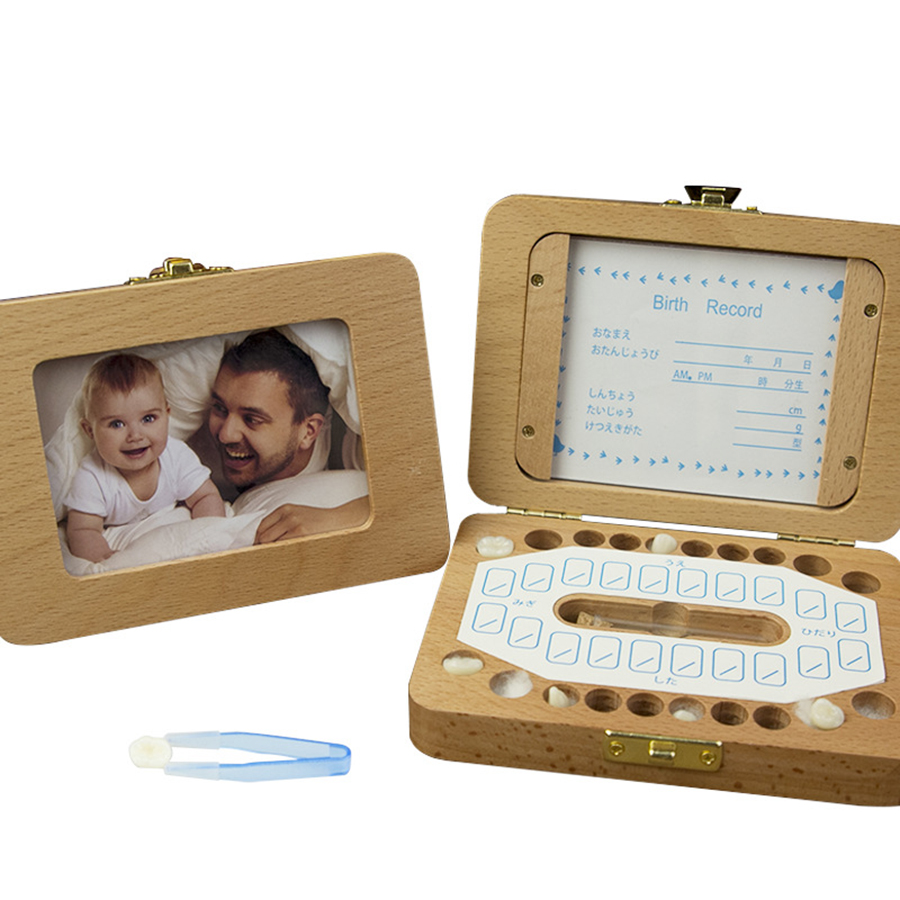 New 2 In 1 Baby Tooth Box With Photo Frame Caja Dientes English/ Spanish Text Baby Wood Tooth Box Milk Teeth Storage Box Gifts