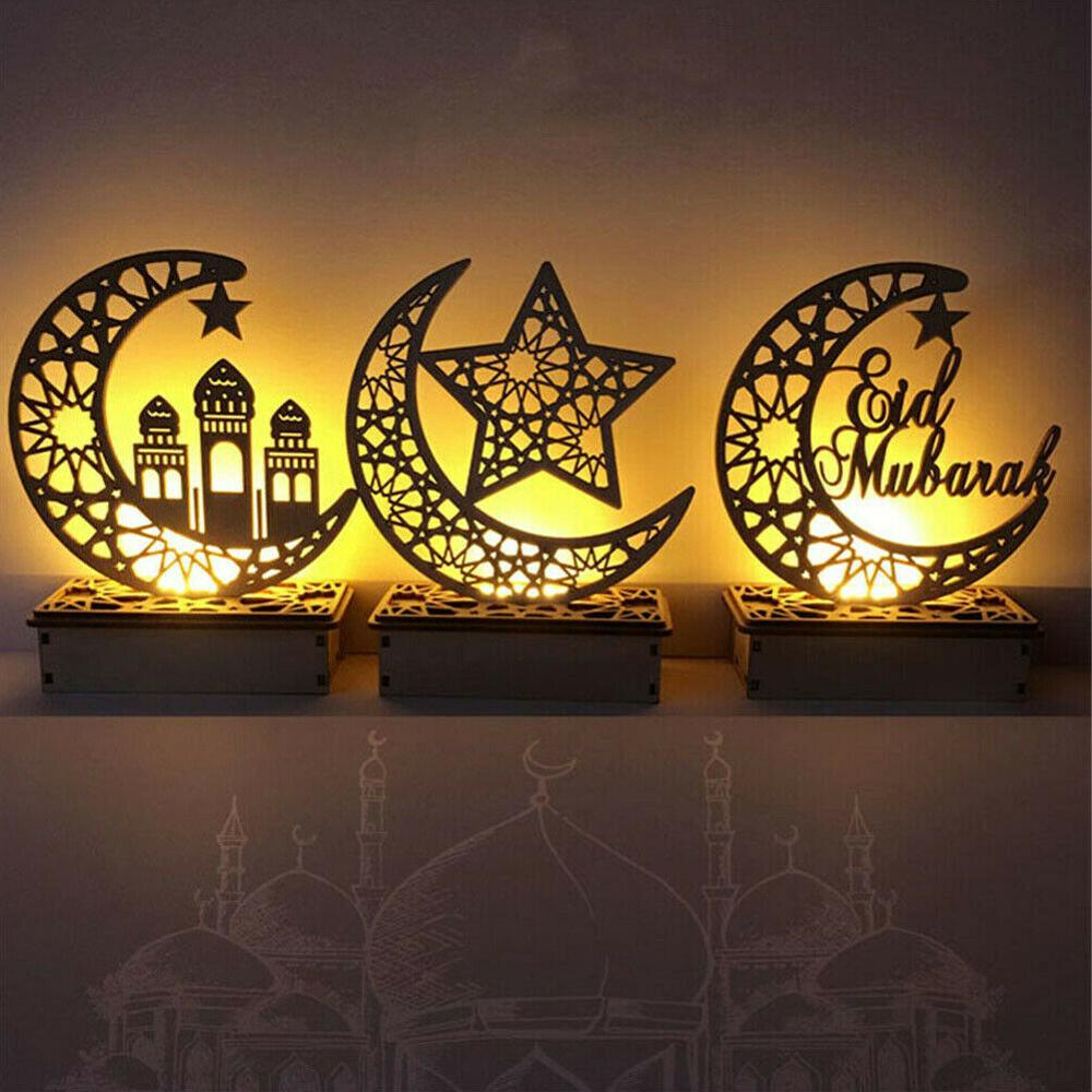 LED Wooden Eid Mubarak Plaque Moon Star Ramadan Ornament Muslim Decor Pendant Islam Muslim LED Candles Light Party Supplies