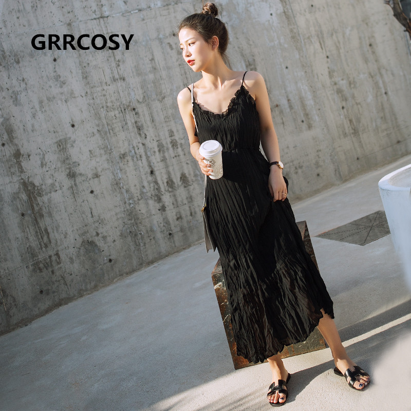 GRRCOSY Chiffon Maternity Pregnancy Tank Long Dress Pleated Fashion Sexy Ruffles Dress For Pregnant Women With Belt chic spaghetti strap solid color tank top 3 4 sleeve embroidered pleated dress twinset for women
