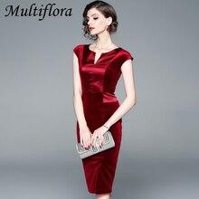 Multiflora dress for women Spring summer V-Neck Slim Fit Red color solid dresses Velvet stitching high quality