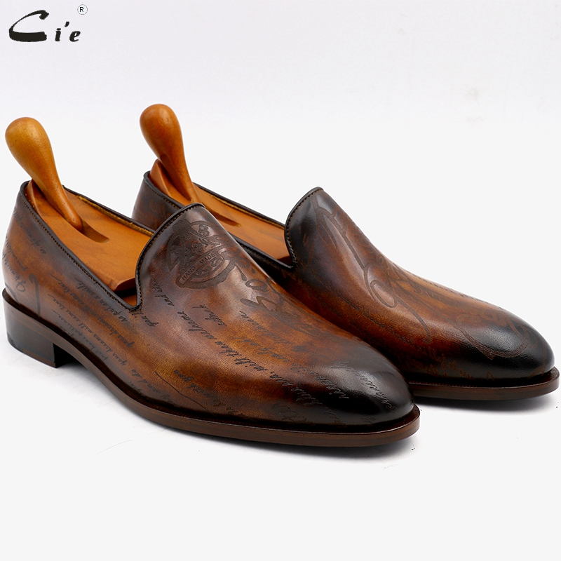 Cie okrągłe toe laserowe patyna brązowy łydki skórzane skórzane męskie buty ręcznie ze skóry cielęcej dno oddychające męskie mokasyny LO04 w Męskie nieformalne buty od Buty na  Grupa 1