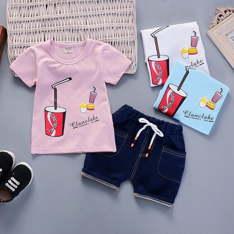 BibiCola baby boys clothes set 2018 new arrival summer sets cartoon cotton t-shirt+denim shorts 2pcs children fashion clothes