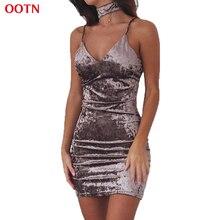 OOTN LYQ120 V-neck slip velvet dress women sleeveless party dresses spaghetti strap mini bodycon outfits autumn winter trended