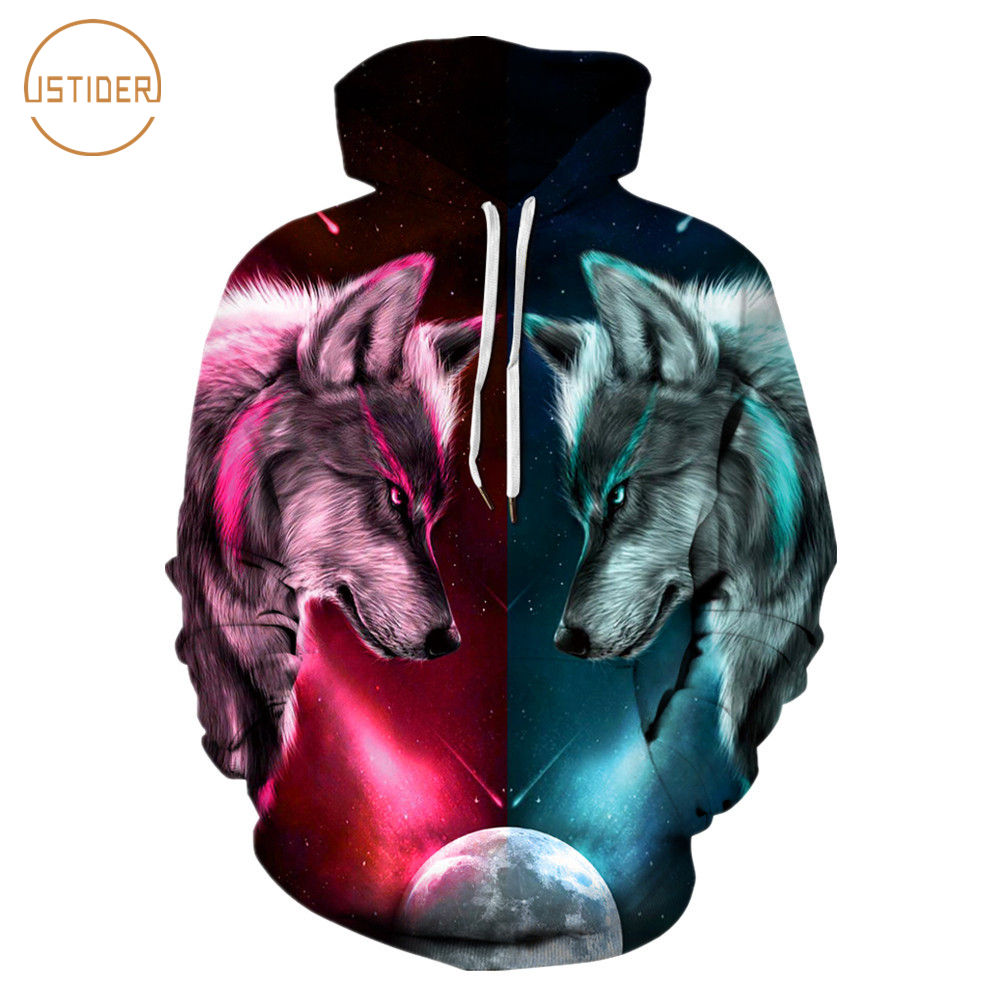 7ebce217a6 US $18.47 30% OFF|ISTider New Design Half Red Blue Fire Ice Wolf Hoodies  Men Women Long Sleeve Loose Tracksuits Unisex Cool Pullover Sweatshirts-in  ...