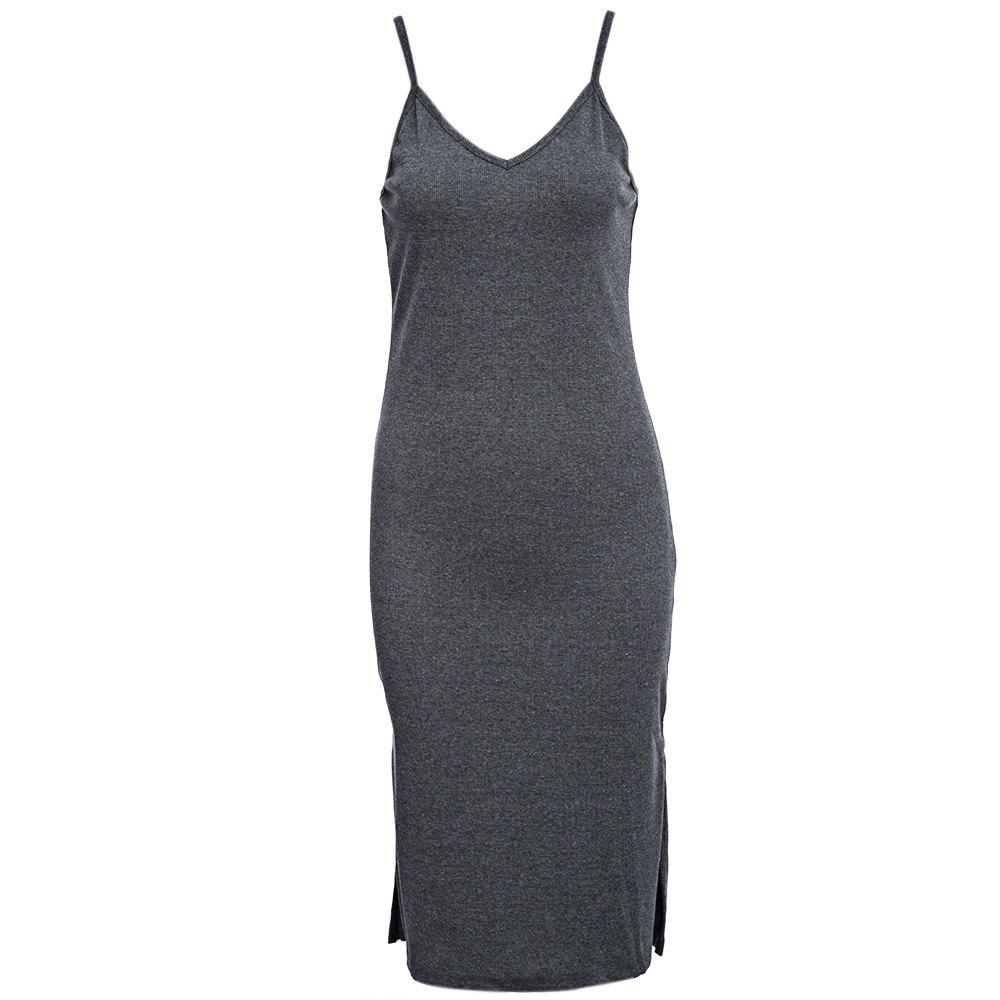 VESTLINDA Knitted Dress Side Split Midi Bodycon Dress Women Summer Brandy Melville Spaghetti Strap Sexy Deep V Neck Beach Dress 4