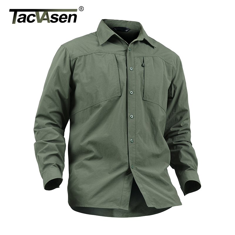 Tacvasen Men Shirt Summer Brand Removable Long Sleeve