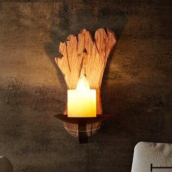 לופט סגנון עץ קיר השיש בציר פמוט קיר אור גופי עבור בית תפאורה עתיק תעשייתי LED מנורת קיר מקורה תאורה
