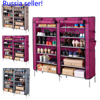 Russia seller! 7Layers 6 Grids Shoe Rack with Cover Living Room Shoes Cabinet Storage Organizer DIY Non-Fabric Shoe Racks Shelf