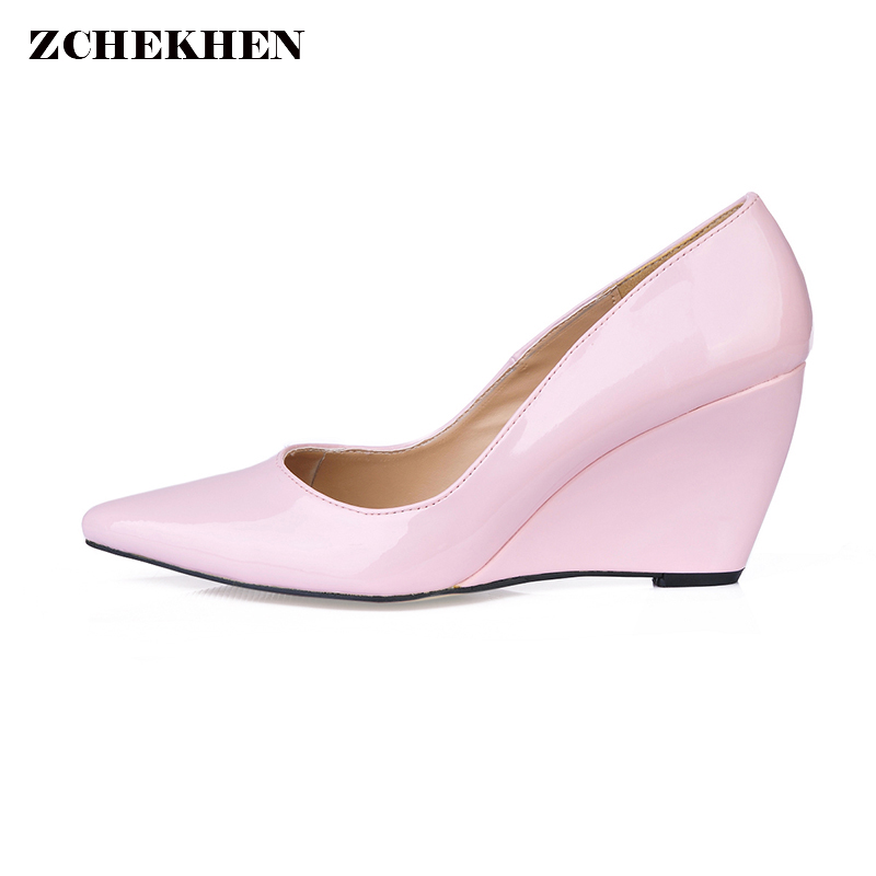Pointed toe Woman High Heels Pumps Nude High Heels wedges Women Shoes dress office Shoes Pumps pink Nude Shoes Heels new women pumps transparent wedges high heels ankle pointed toe high heels pring autumn sexy shoes woman platform pumps