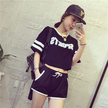 2017 Summer Women Sets Casual Women s Tracksuits Two Piece Set Crop Top And Shorts Set