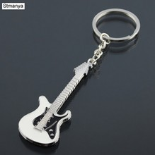 New Design Classic Guitar Keychain Car Key Chain Key Ring Musical Instruments silver pendant For Man Women Gift wholesale 17079(China)