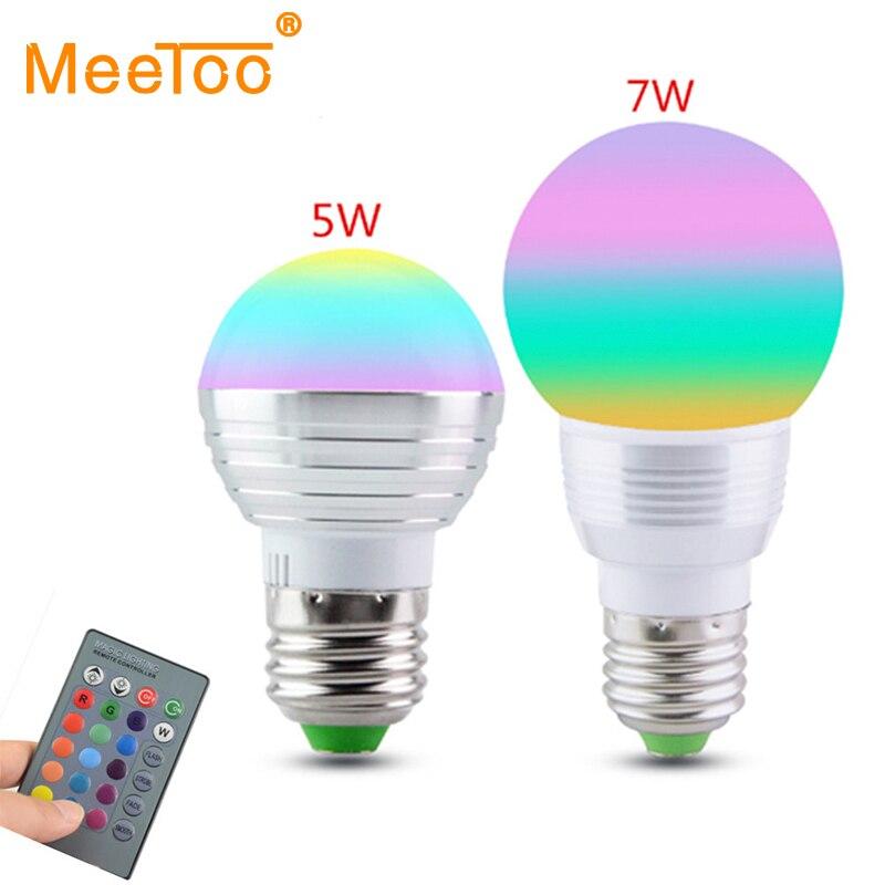 E27/E14 RGB светодиодные лампы 5 Вт 7 Вт 110 В 220 В rgb led лампочки лампы ИК дистанционное управление 16 Цвет изменения для отдыха и вечеринок Декор лампада LED