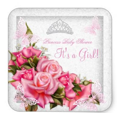 Купить с кэшбэком 1.5inch Princess Baby Shower Girl Butterfly Pink Rose 3 Square Sticker