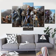 World Of Warcraft The Alliance Painting 5 Piece Modular Style Picture Canvas Print Type Home Decorative Wall Artwork Poster