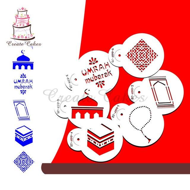 Eid Mubarak Stencil for Cake and Cookie Plastic Decorative Stencil Fondant Decorating Sugarcraft Tools Bakeware