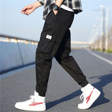 Hot 2019 Spring Autumn Cargo Elastic Waist Cotton track ankle length pants men teenagers hiking outdoo camping trekking trousers