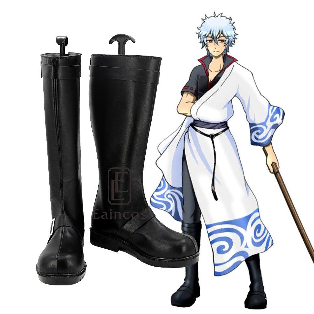 Anime Gintama Sakata Gintoki Cosplay Party Shoes Black Boots Custom Made