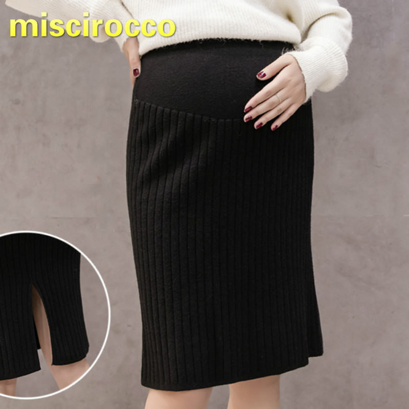 Maternity Skirt Knee-length Forking Wool Skirt Big Elasticity Fall and Winter Maternity Skirts Pregnancy Clothes dabuwawa fashion knee length women fall skirts winter a line skirt faldas mujer suspender casual high waist skirt d17crs018