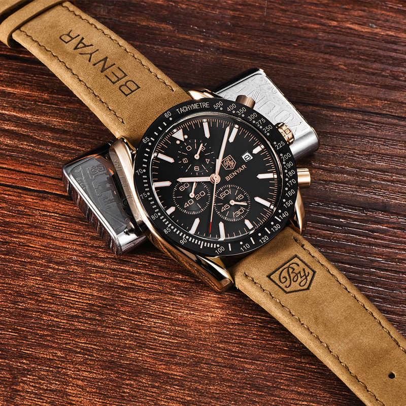 BENYAR Männer Uhren Marke Luxus Silikon Band Wasserdicht Sport Quarz Chronograph Militär Uhr Männer Uhr Relogio Masculino