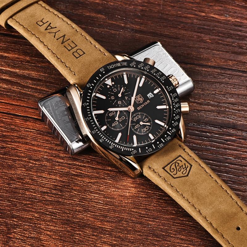 Image 5 - BENYAR Men Watches Brand Luxury Silicone Strap Waterproof Sport Quartz Chronograph Military Watch Men Clock Relogio Masculino-in Quartz Watches from Watches