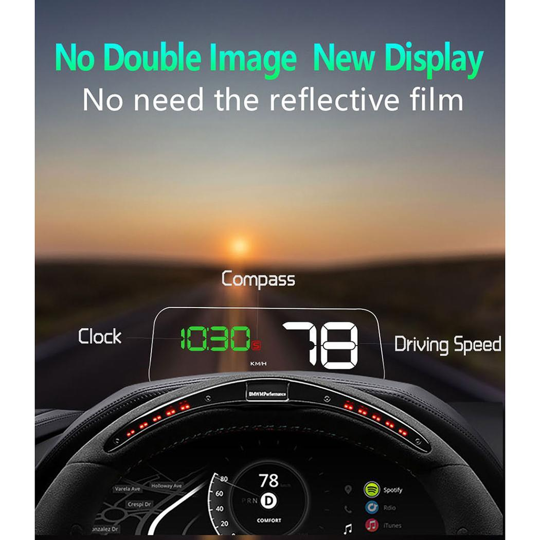 General Car Head Up Display HUD OBD2 Perspective Glass Aarms Reminders LED Projection Car Speedometer Car Electronics OBD