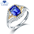 Natural Emerald Cut Tanzanite Wedding Rings Real Solid 14K Two-tone Gold Special Design Loving Engagement Gift for Wife
