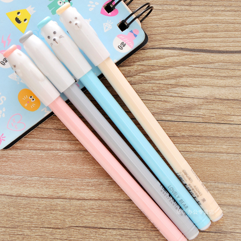 4Pcs Lovely Bear Cute Pet Gel Pen Stationery Store Kawaii Kids Escritorio Roller Ball Stationary School Material Thing Item Shop