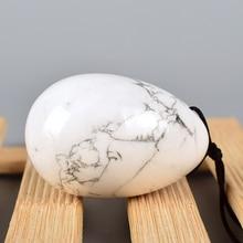 Jade яйцо пробуренных натуральный кристалл СФЕРА 45*30 Белый говлит Йони яйцо расслабляющий массаж для Кегеля упражнения для женщин здравоохранения