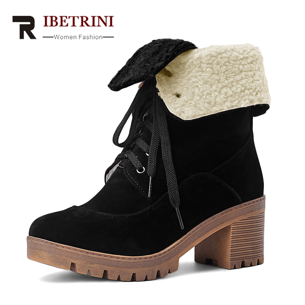 RIBETRINI Women Winter Fur Boots Chunky Heel Warm Shoes Woman Lace Up Platform Footwear Short Ankle Snow Boots Big Size 34-43 ribetrini 2017 fashion cow suede turned over edge ankle snow boots sewing warm fur platform low flat women shoes size 34 39