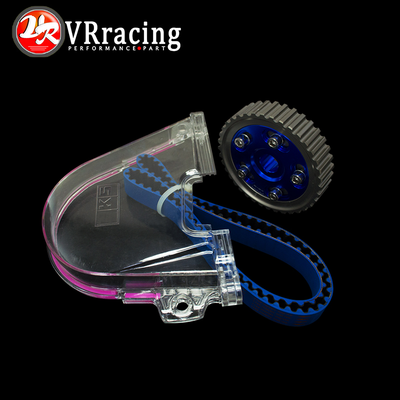 VR RACING - HNBR Racing Timing Belt + Aluminum Cam Gear + Cam Cover FOR 92-00 Civic D16Z D16Y VR-TB1002B+6542B+6337 vr racing hnbr racing timing belt
