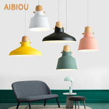 AIBIOU Nordic LED Pendant Light With Metal Lampshade For Colorful Lamp E27 Bar Indoor Hanging Luminaire