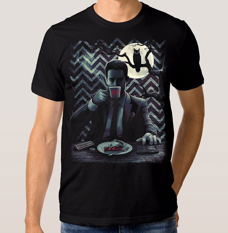 Mens Twin Peaks Agent Cooper David Lynch Movie T-Shirt Black Printed Round Men T shirt Cheap Price top tee Hot 2018 Fashion